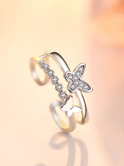 Beauteous Butterflies Adjustable Dual AD Ring