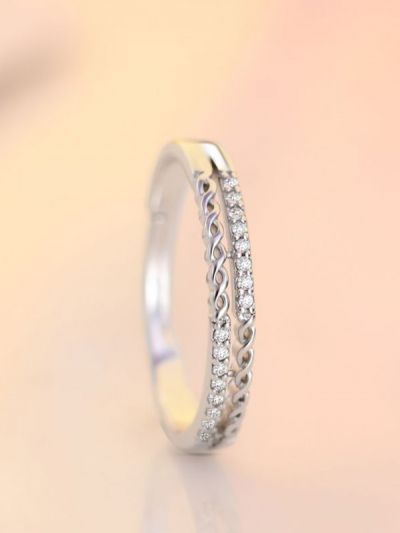 Silverette Linear Infinity Adjustable AD Dual Ring
