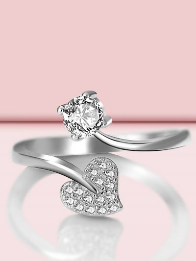 Shimmering Heart Adjustable CZ Ring