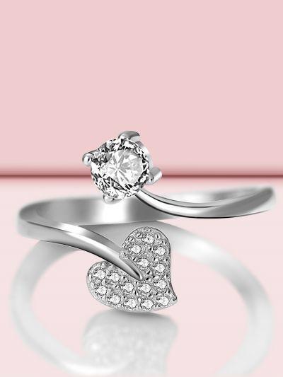 Shimmering Heart Adjustable CZ Ring