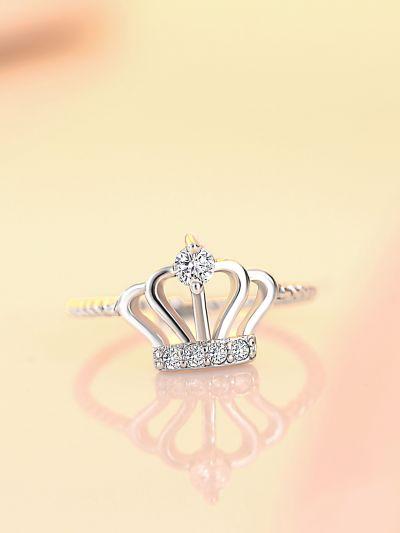 Coronating Crown CZ Adjustable Ring
