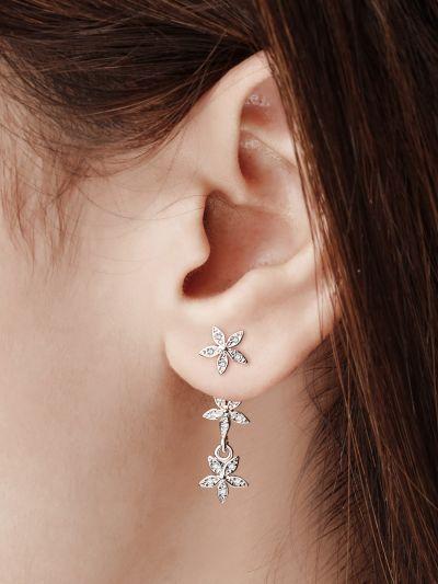 Trail Of Stars AD Earrings (Silver)