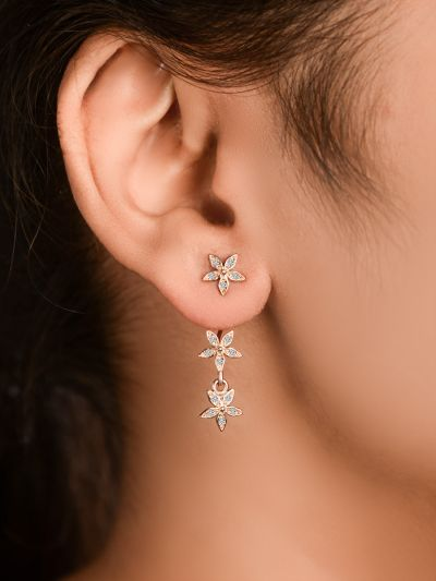 Trail Of Stars CZ Earrings (Rose Gold)