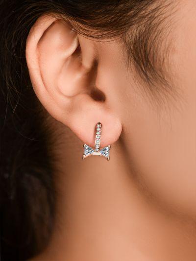 Glistening Gold Bow CZ Earrings
