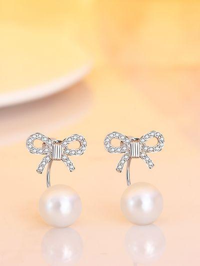 Ambrosial Pearl Bowknot CZ Earrings