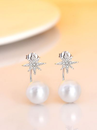 Shimmering Snowflake Pearl AD Earrings
