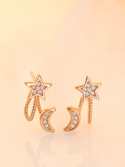 Crescent Moon And Star CZ Earrings (Gold)