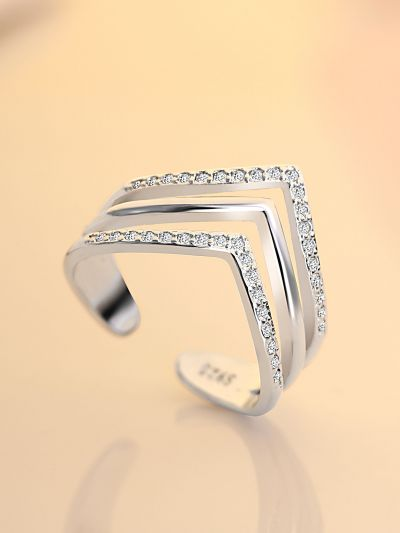 Leslie's Layered CZ Adjustable Ring (Silverette)