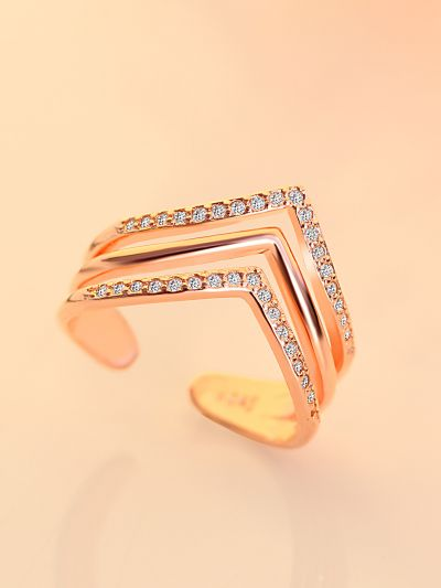 Leslie's Layered CZ Adjustable Ring (Rosegold )