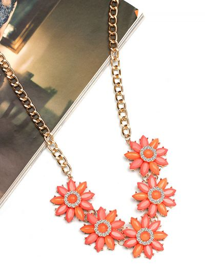 The Flourishing Floral Embedded Neckpiece- Coral Pink