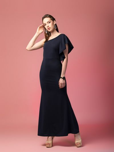 Majestic Michelle one-shoulder evening gown