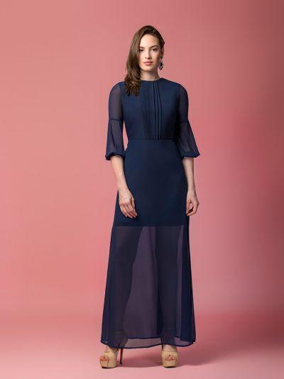 Stately Stella navy blue maxi dress