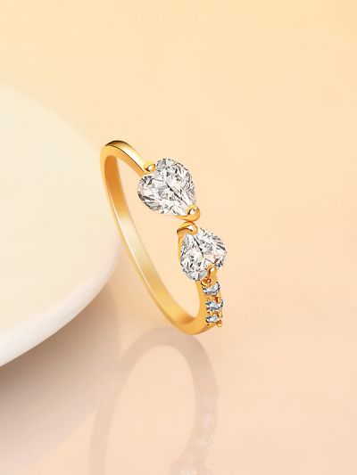 Sophie's Scintillating Hearts CZ Ring- Golden