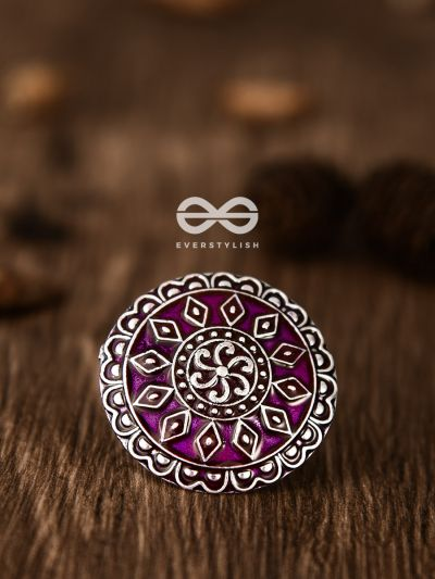 The Intricate Meenakari Adjustable Ring (Pink) - Embellished Oxidised Collection