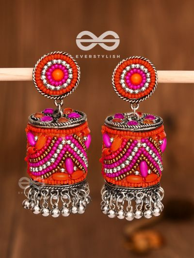 The Magnetic Attention Getters (Pink) - Embroidered Boho Jhumkas