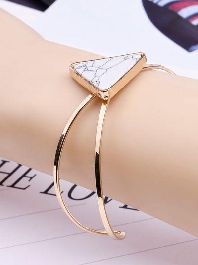 Golden Marvellous Marble Cuff Bracelet- White