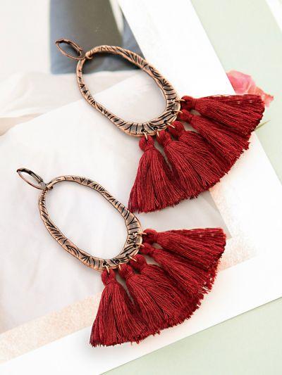The  Bohemian Twist Statement Tassel Earrings-Maroon