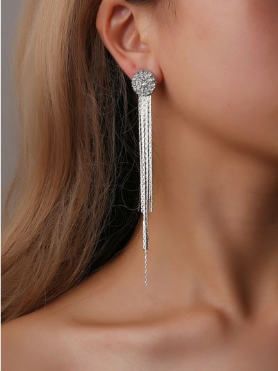 THE CHARM OF A PERFECTIONIST STONE STUDDED DANGLERS- Silver