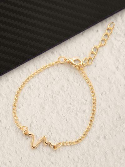 The Elegant Casual Heartbeat Bracelet- Golden