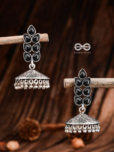 The Olive Branch Intricate Jhumkis - Onyx Black - The Embellished Oxidised Collection