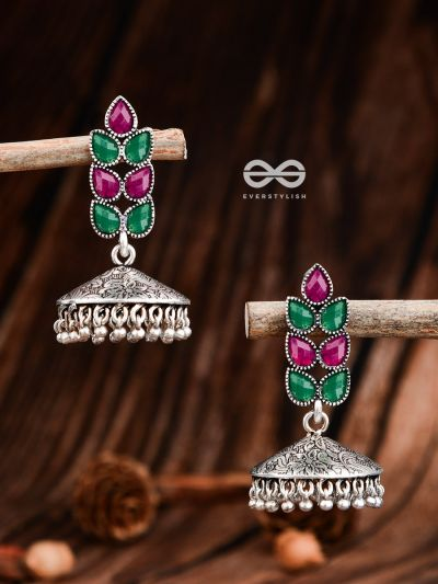The Olive Branch Intricate Jhumkis - Ruby Emerald - The Embellished Oxidised Collection
