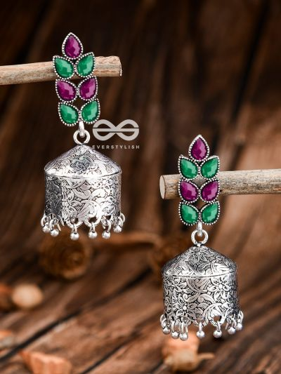 The Olive Branch Intricate Drum Jhumkis - Emerald and Ruby - The Embellished Oxidised Collection