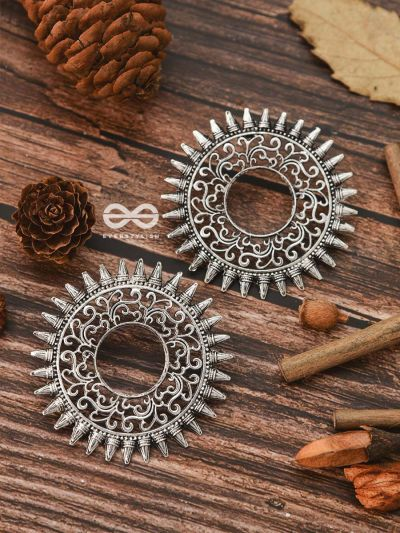 The Motif Sun Oxidised Boho Earrings