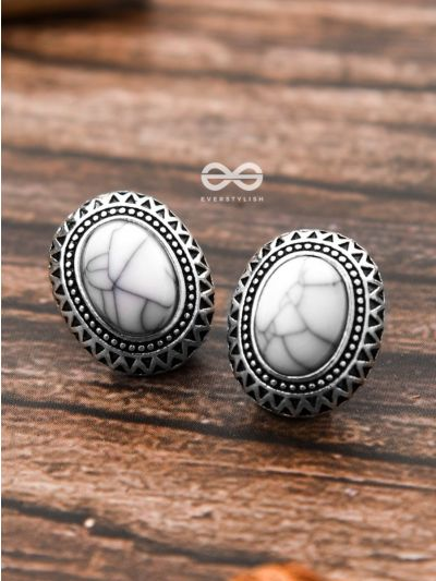 The Marble Button Studs - Tiny Trinket Earrings