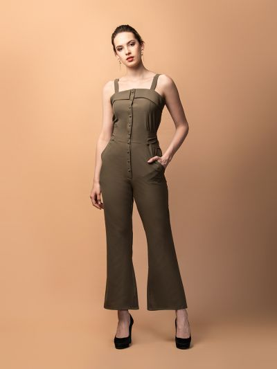 Vivacious Vanessa Tie-Up Jumpsuit- Olive Green